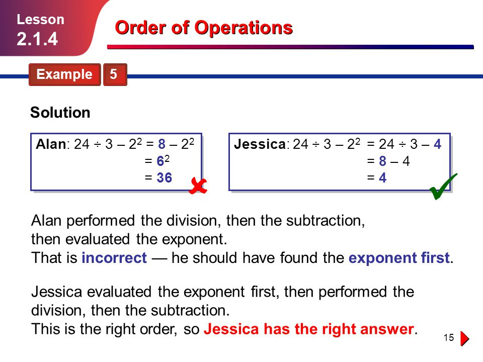 Order of Operations 2.1.4 Solution