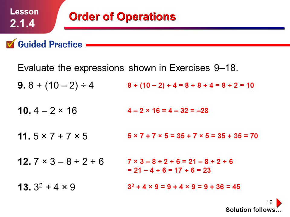 Order of Operations Guided Practice