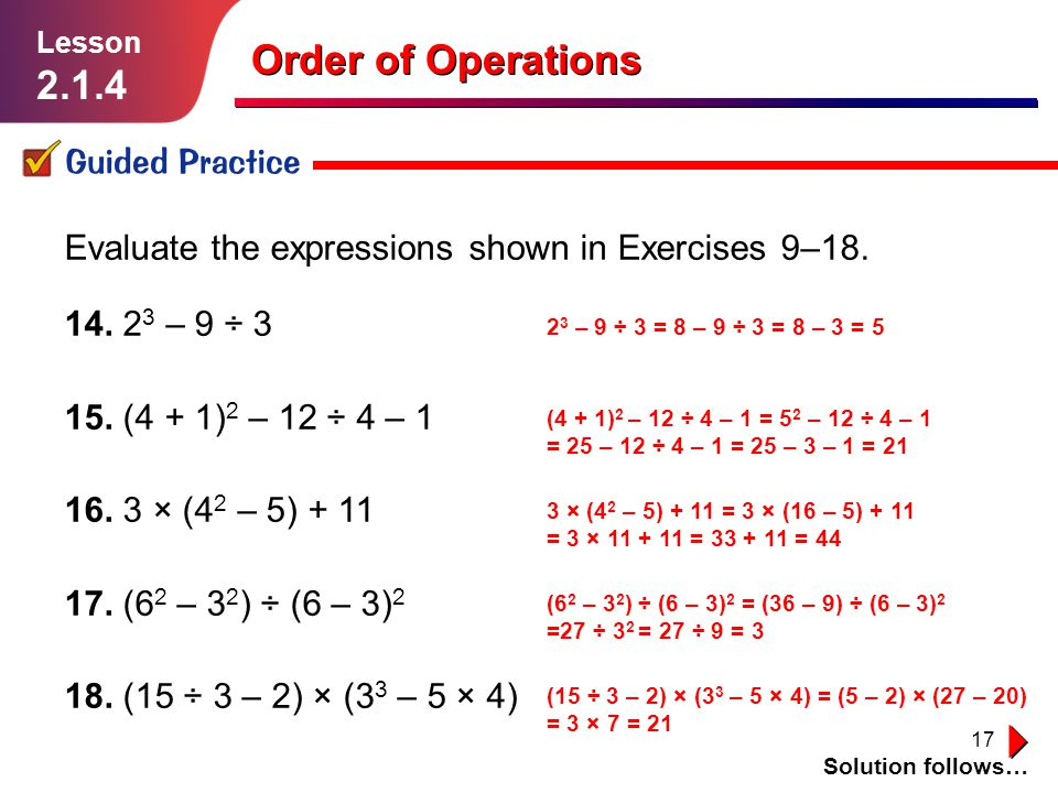 how to use order of operations to evaluate an expression