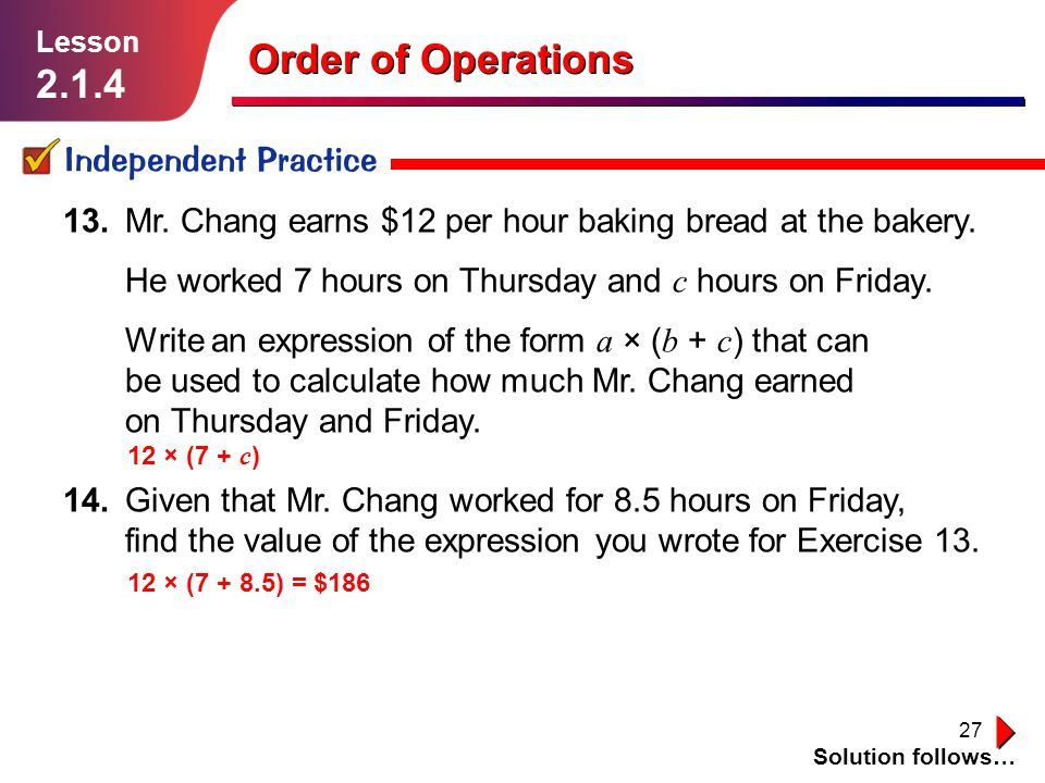 Order of Operations Independent Practice
