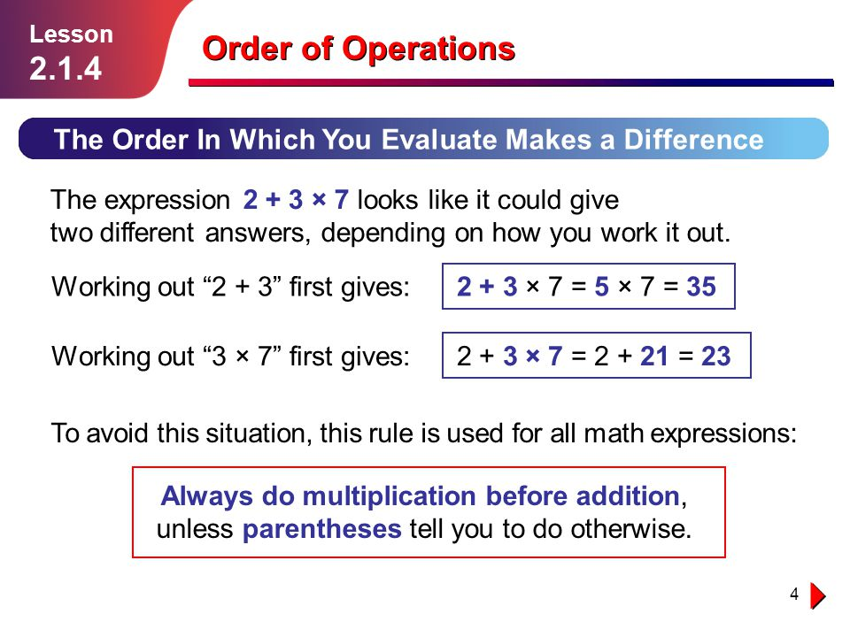 Lesson Order of Operations. The Order In Which You Evaluate Makes a Difference.