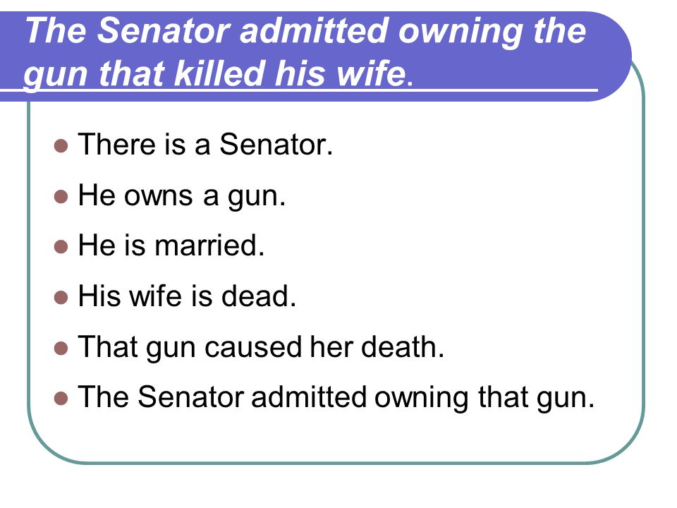 The Senator admitted owning the gun that killed his wife.