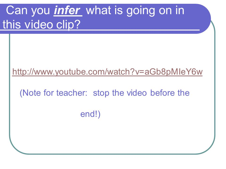 Can you infer what is going on in this video clip
