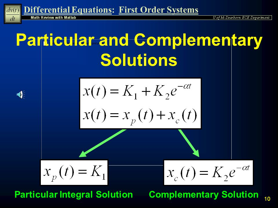Particular and Complementary Solutions