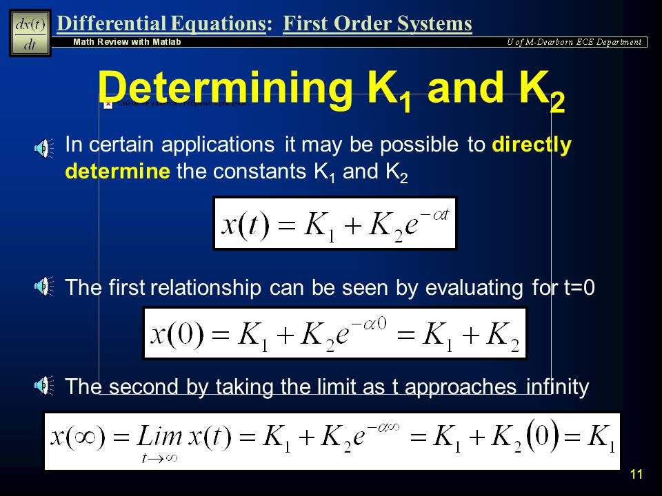 Determining K1 and K2 In certain applications it may be possible to directly determine the constants K1 and K2.