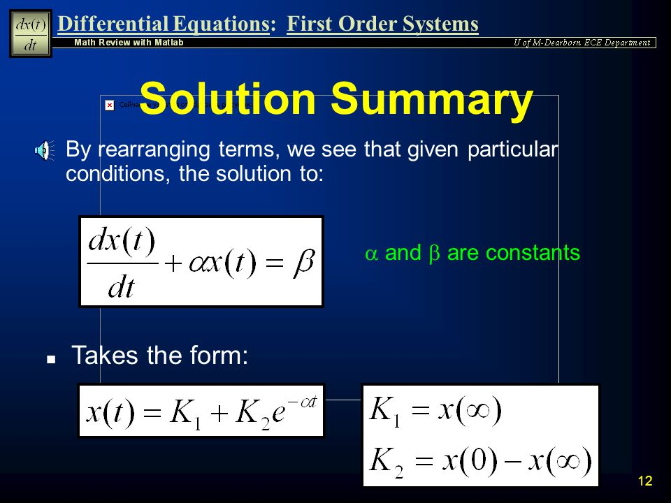 Solution Summary Takes the form: