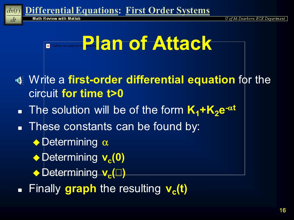 Plan of Attack Write a first-order differential equation for the circuit for time t>0. The solution will be of the form K1+K2e-at.