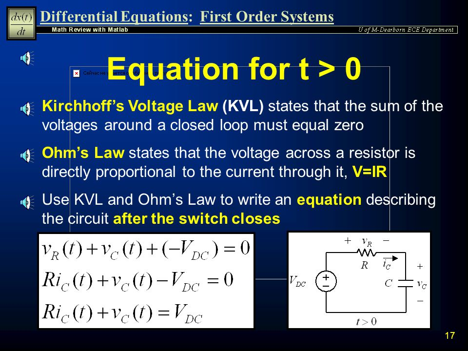 Equation for t > 0 Kirchhoff's Voltage Law (KVL) states that the sum of the voltages around a closed loop must equal zero.