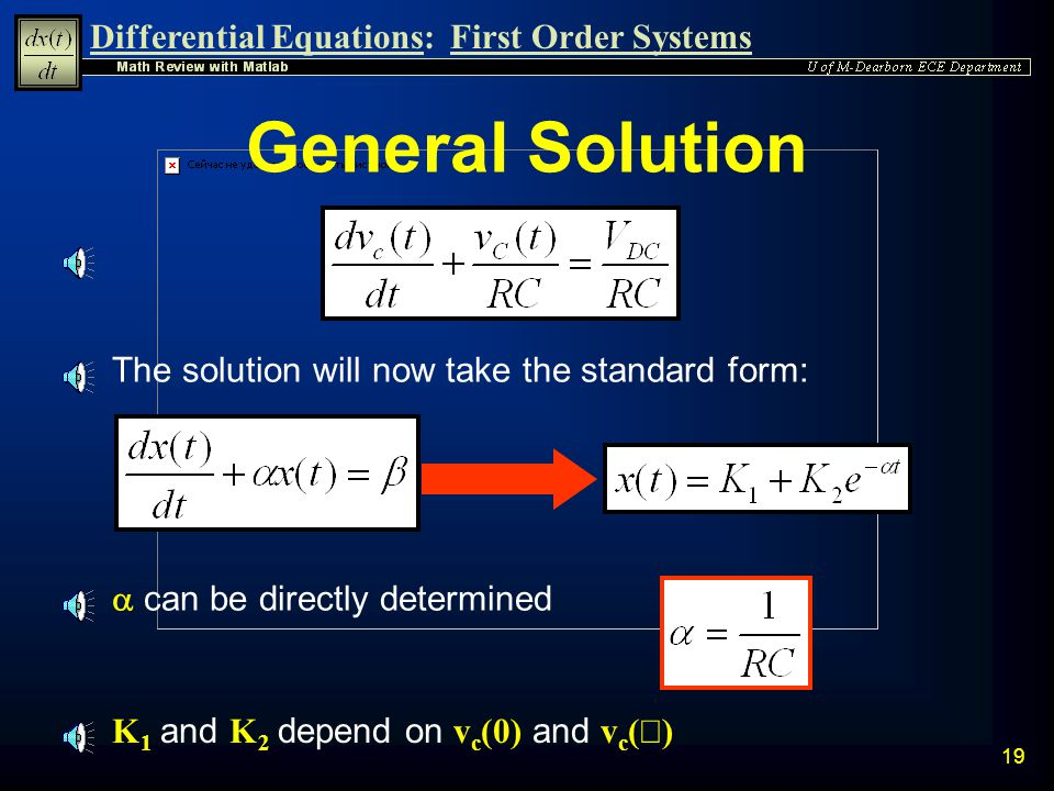 General Solution The solution will now take the standard form: