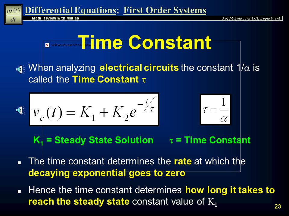 Time Constant When analyzing electrical circuits the constant 1/a is called the Time Constant t. K1 = Steady State Solution.