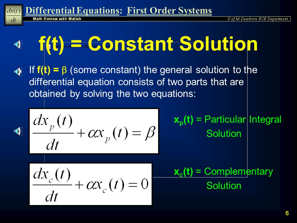 f(t) = Constant Solution