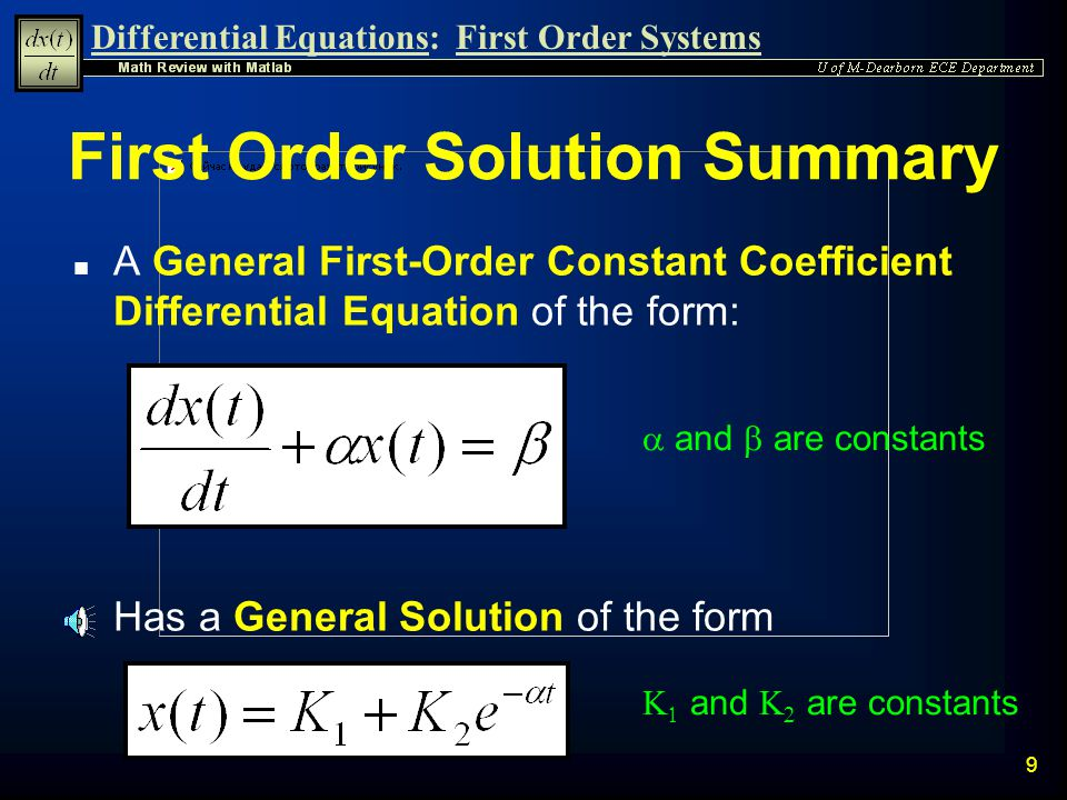 First Order Solution Summary