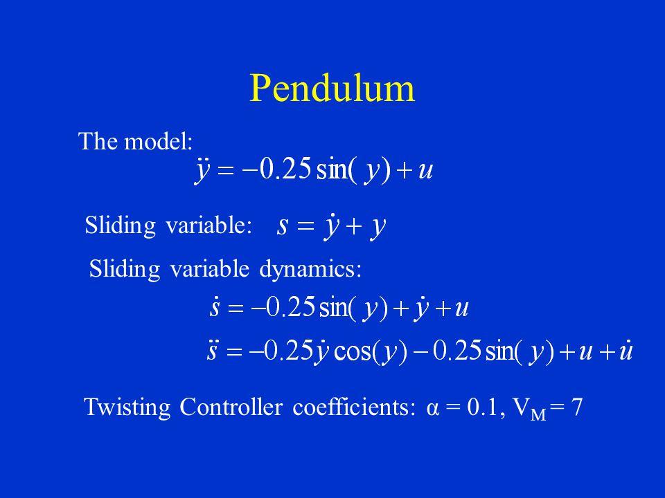 Pendulum The model: Sliding variable: Sliding variable dynamics: