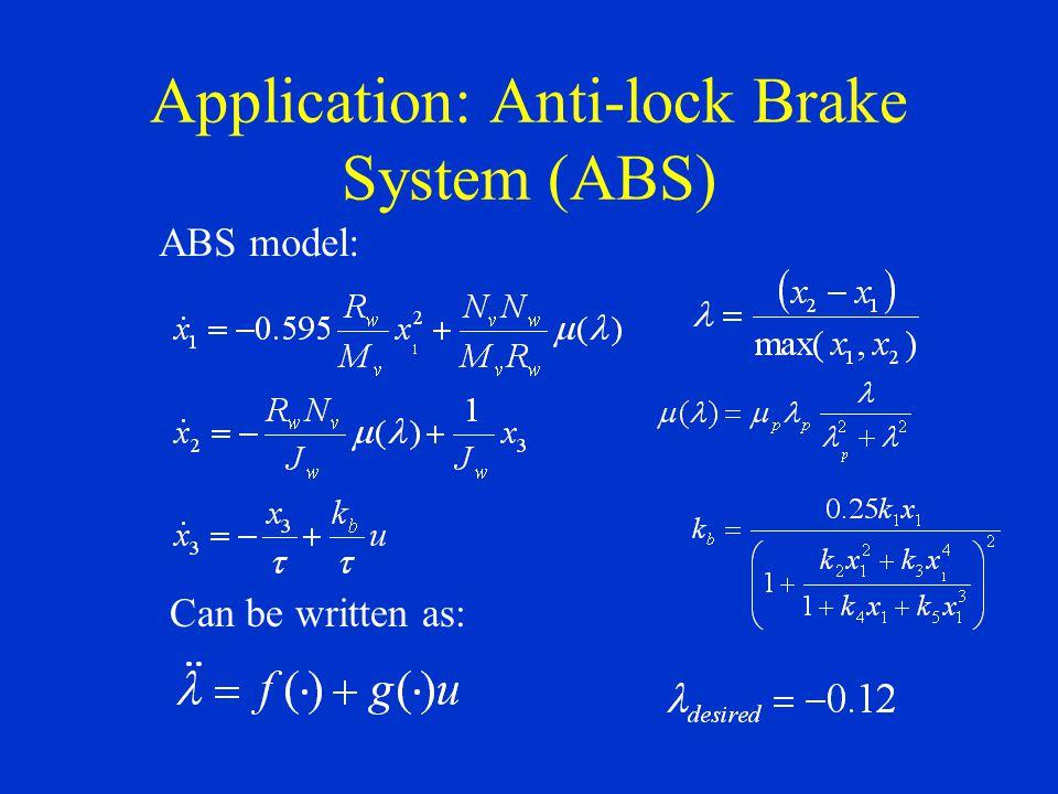 Application: Anti-lock Brake System (ABS)