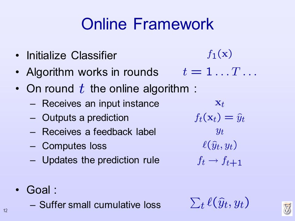 Online Framework Initialize Classifier Algorithm works in rounds