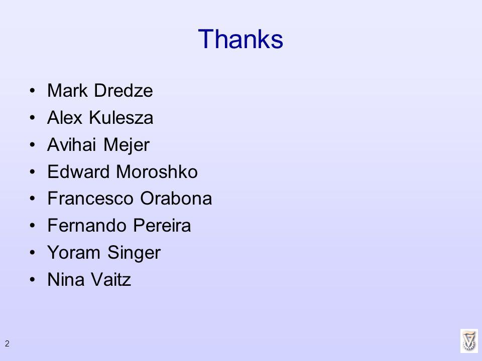Thanks Mark Dredze Alex Kulesza Avihai Mejer Edward Moroshko