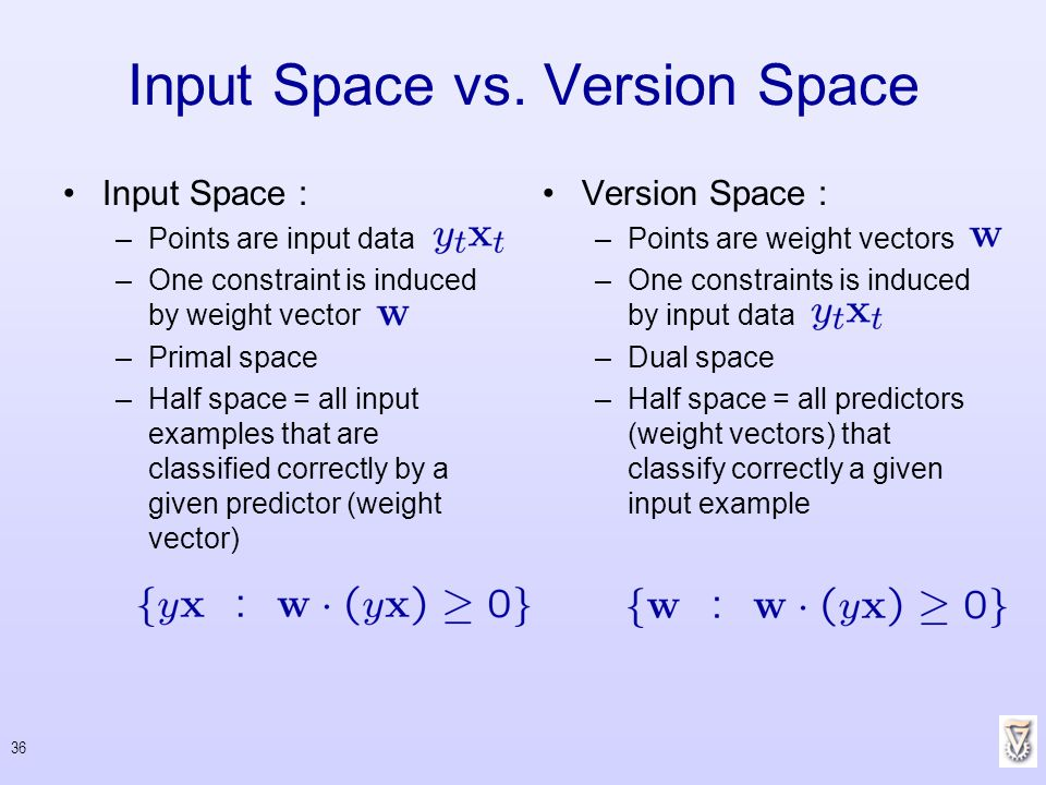 Input Space vs. Version Space