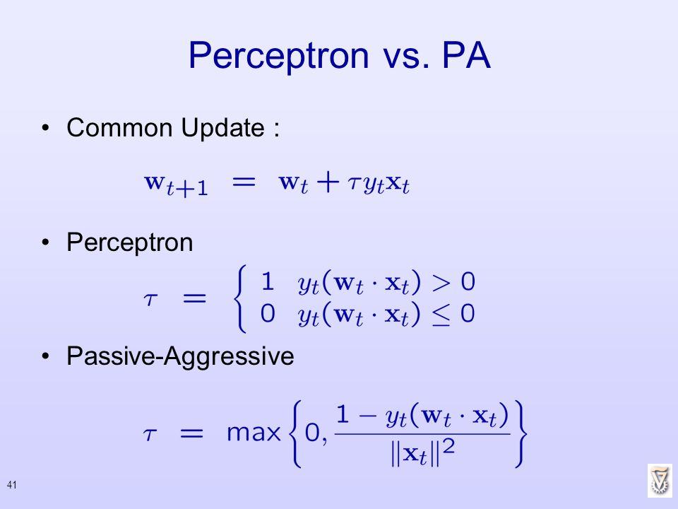 Perceptron vs. PA Common Update : Perceptron Passive-Aggressive