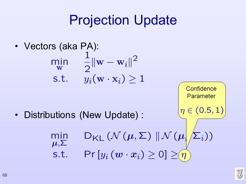 Projection Update Vectors (aka PA): Distributions (New Update) :