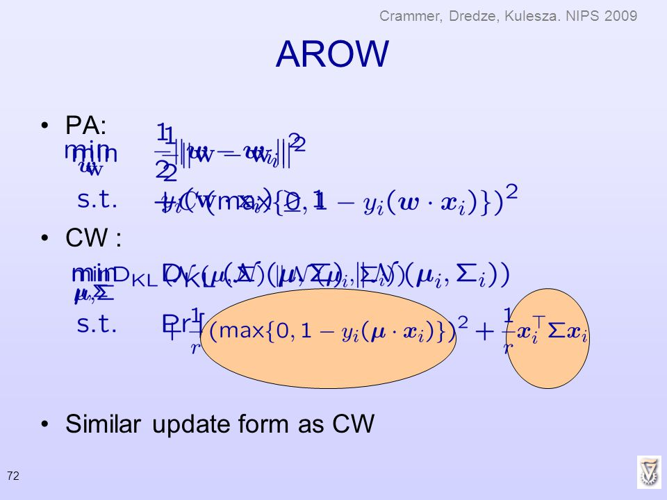 AROW PA: CW : Similar update form as CW
