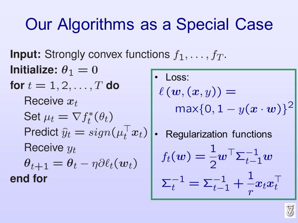 Our Algorithms as a Special Case