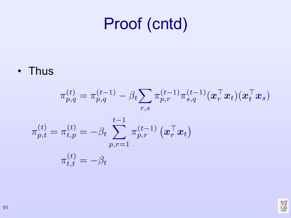 Proof (cntd) Thus