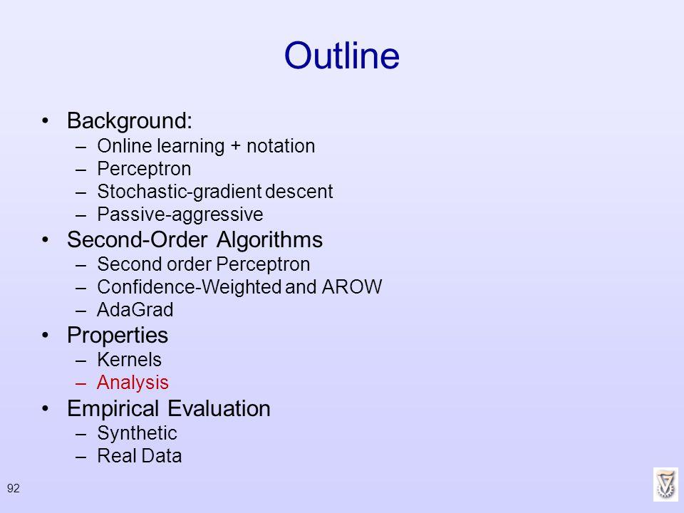 Outline Background: Second-Order Algorithms Properties