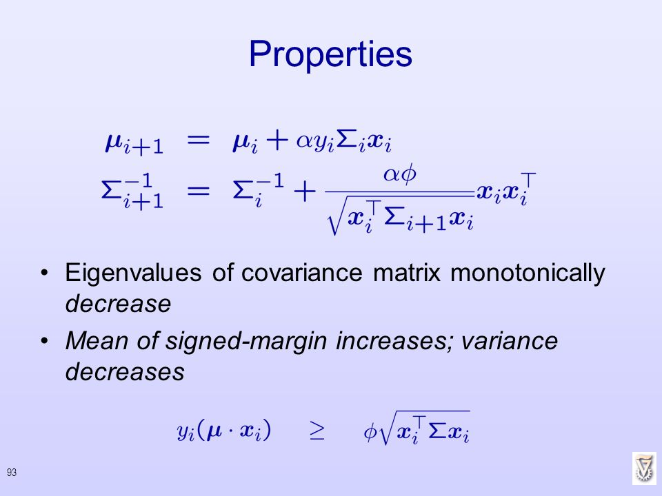 Properties Eigenvalues of covariance matrix monotonically decrease