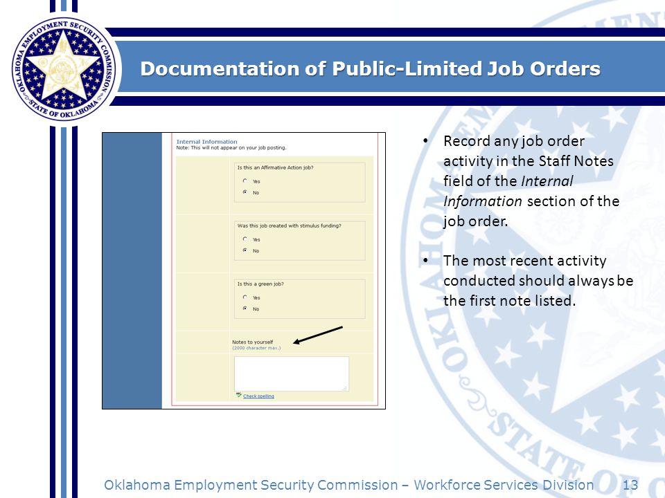 Documentation of Public-Limited Job Orders