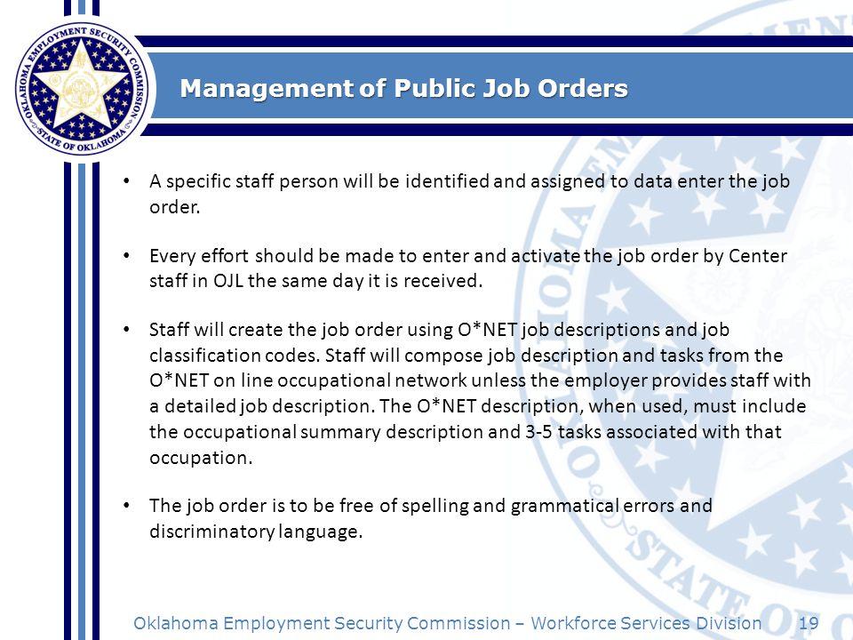 Management of Public Job Orders