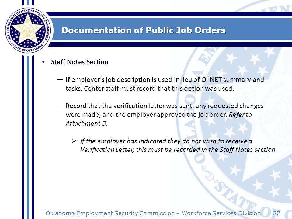 Documentation of Public Job Orders