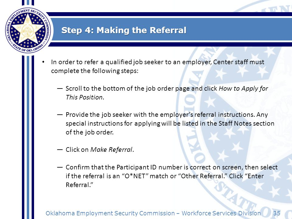Step 4: Making the Referral