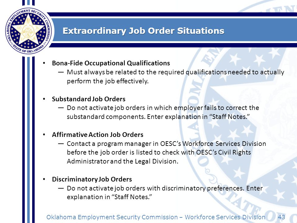 Extraordinary Job Order Situations