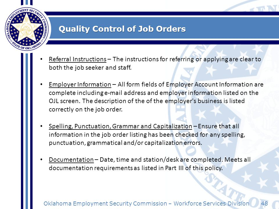 Quality Control of Job Orders