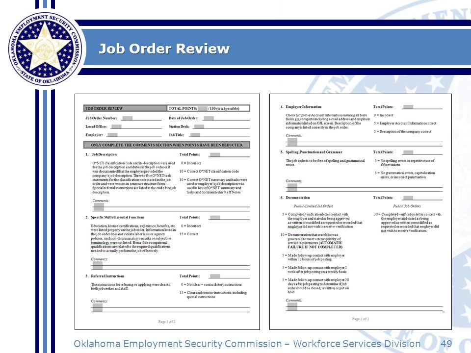 Job Order Review