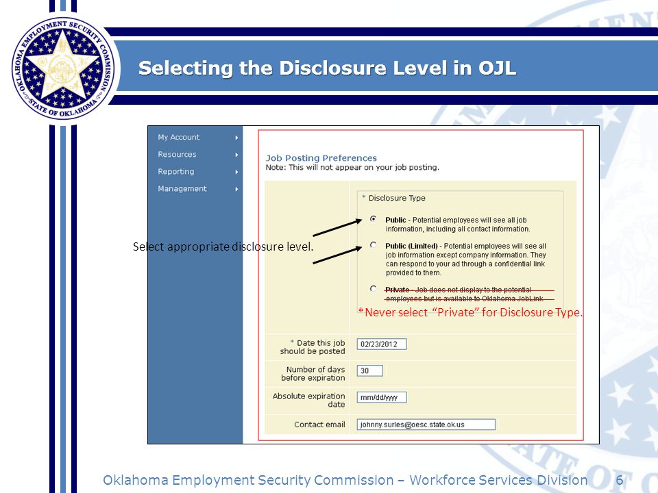 Selecting the Disclosure Level in OJL