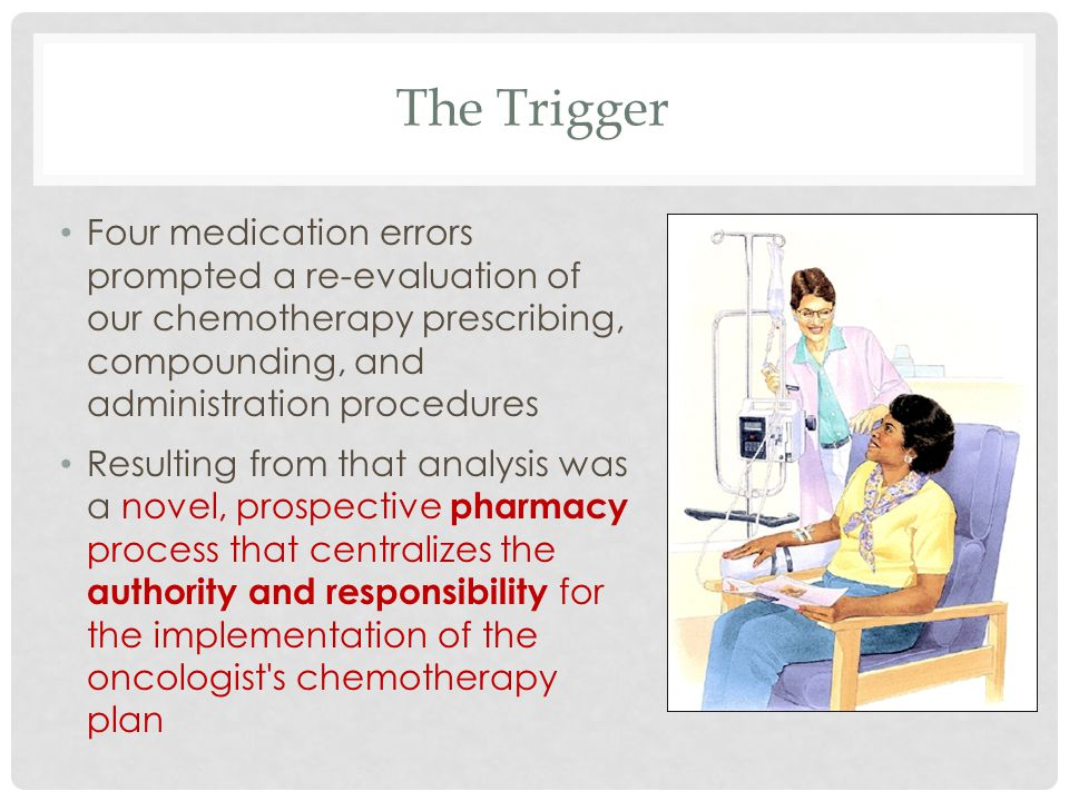 The Trigger Four medication errors prompted a re-evaluation of our chemotherapy prescribing, compounding, and administration procedures.