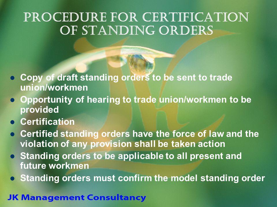 Procedure for Certification of Standing Orders