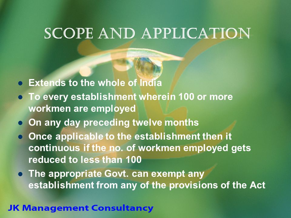 Scope and Application Extends to the whole of India