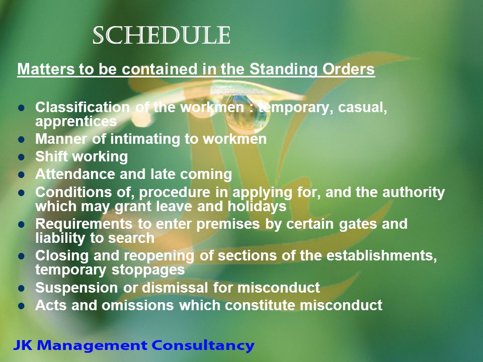 Schedule Matters to be contained in the Standing Orders