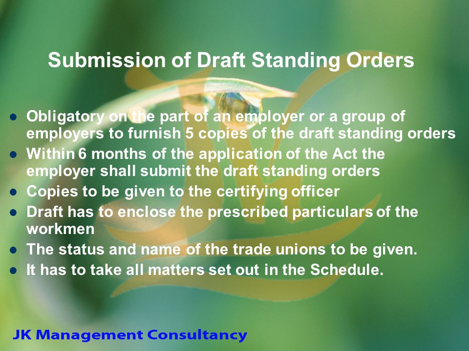 Submission of Draft Standing Orders