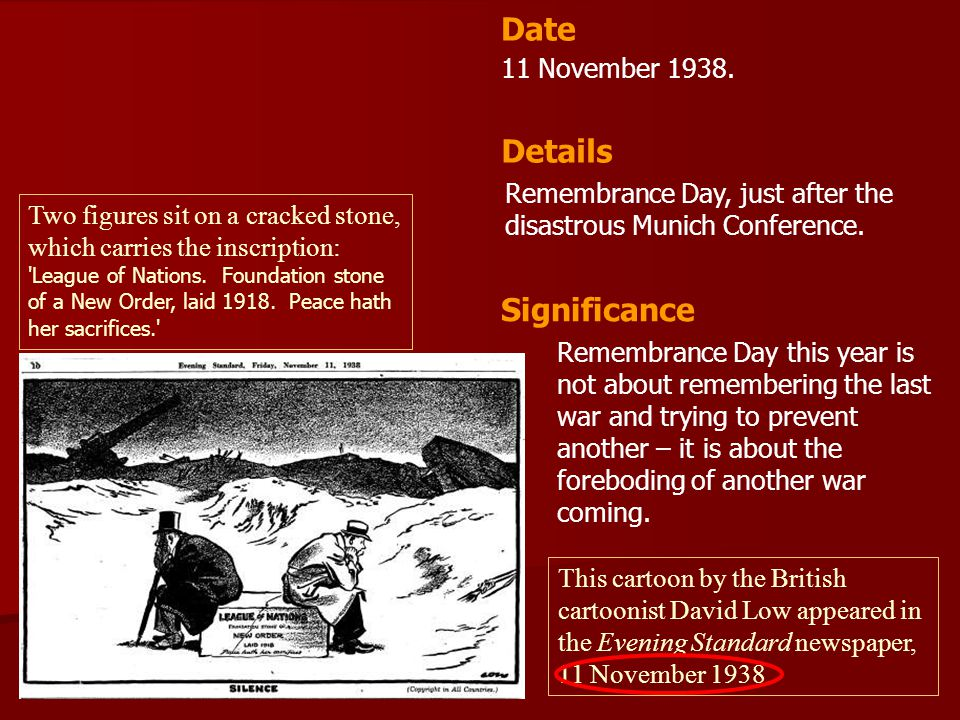 Date Details Significance 11 November 1938.