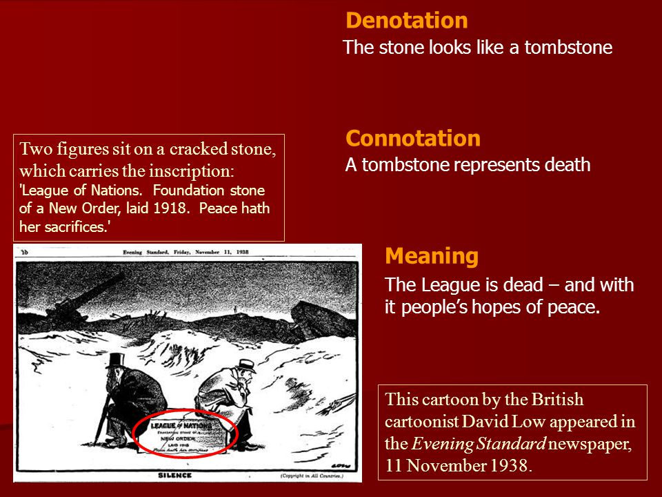Denotation Connotation Meaning The stone looks like a tombstone