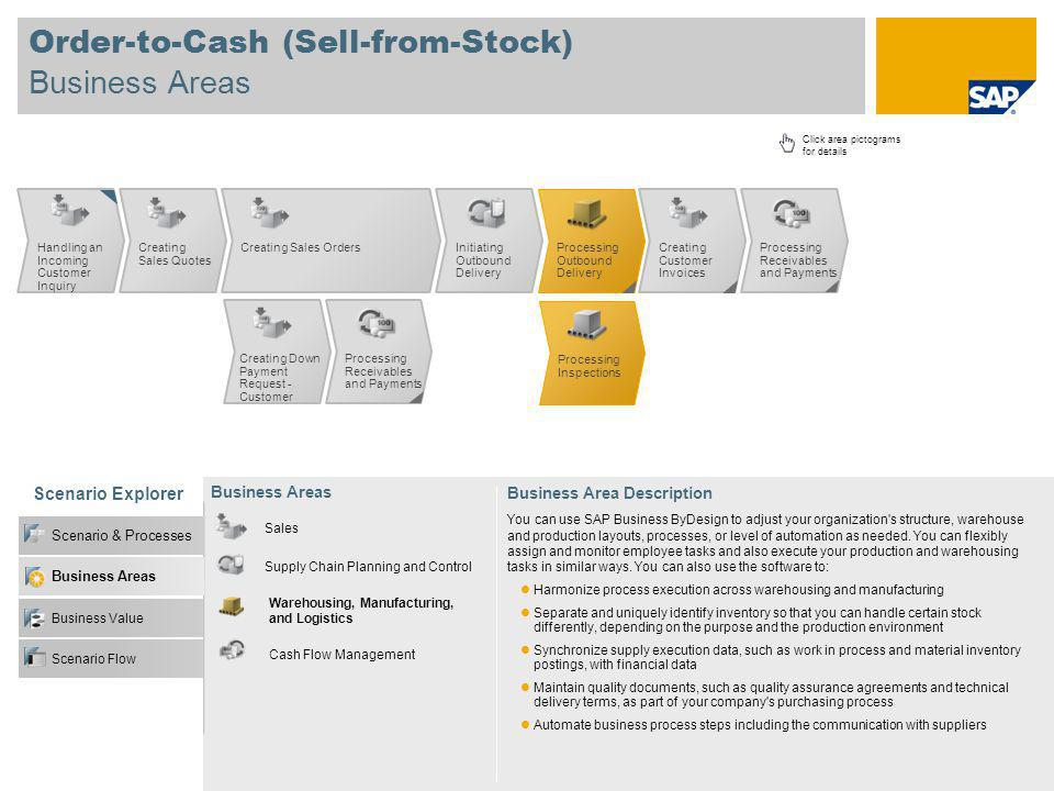Order-to-Cash (Sell-from-Stock) Business Areas