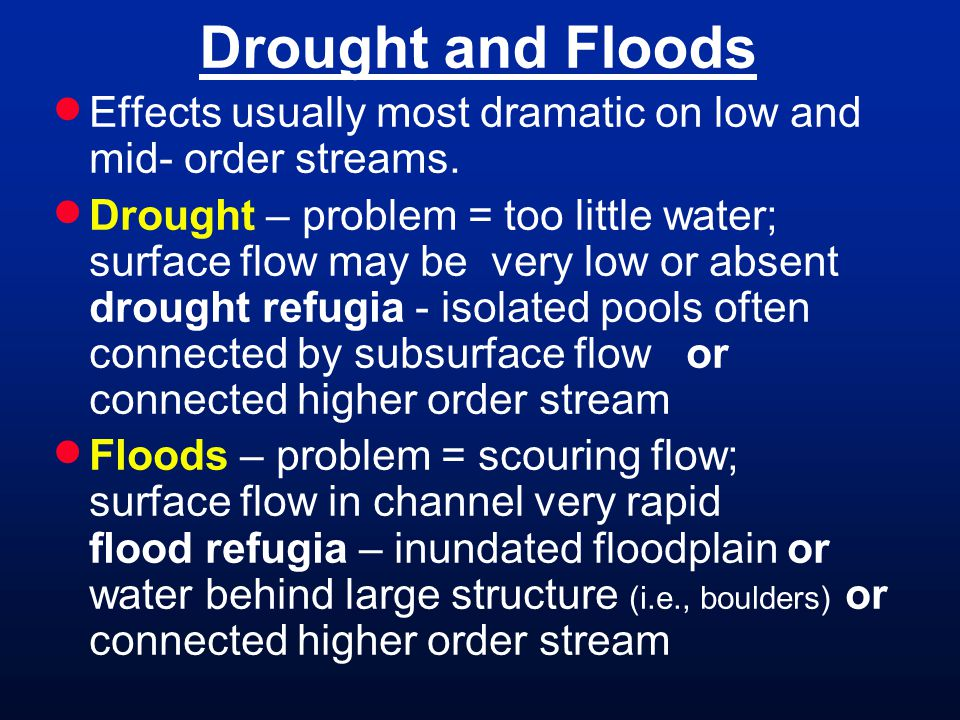 Drought and Floods Effects usually most dramatic on low and mid- order streams.