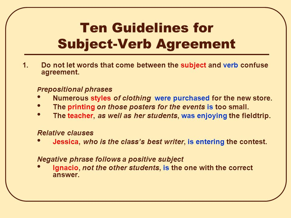 Verb Subject Agreement Selol Ink