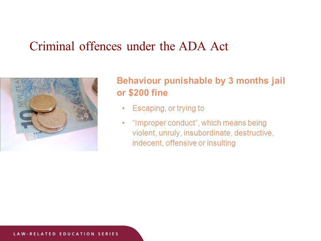 Criminal offences under the ADA Act