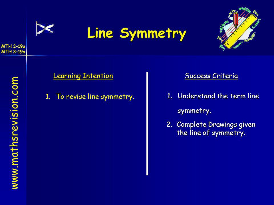 Line Symmetry www.mathsrevision.com Learning Intention