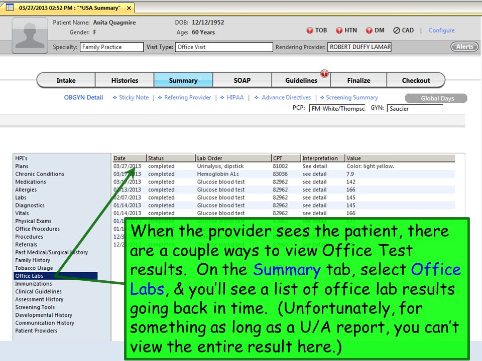 When the provider sees the patient, there are a couple ways to view Office Test results.