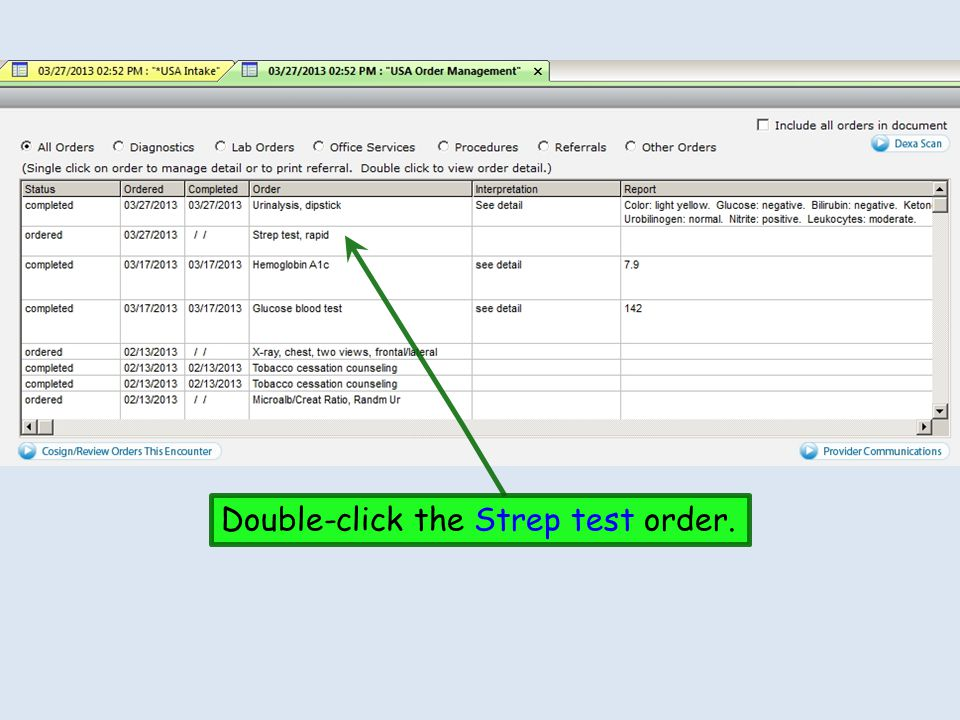 Double-click the Strep test order.